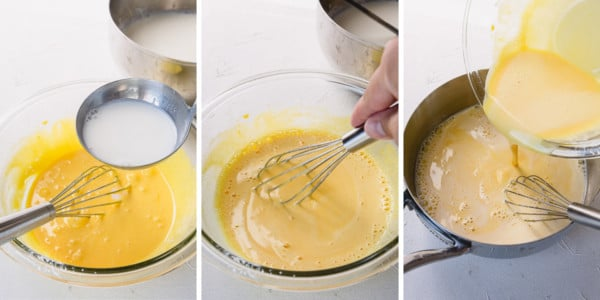 step by step process shots of tempering egg yolks.