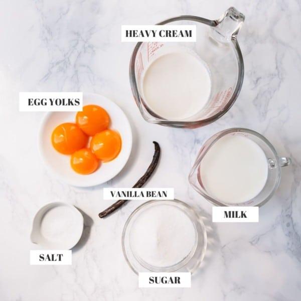 vanilla ice cream ingredients: milk, heavy cream, sugar, yolks and vanilla bean.