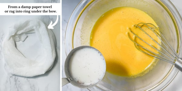 2 side by side images of damp towel ring and tempering yolks.