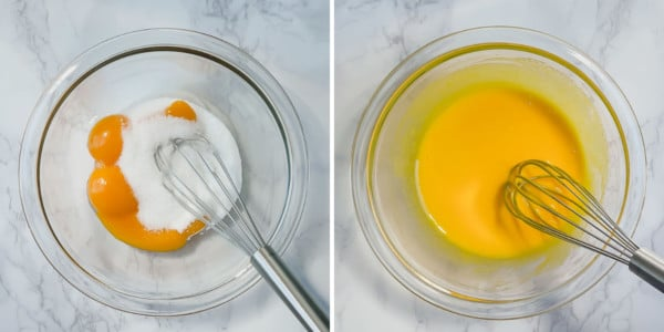 2 side by side images of whisking yolks and sugar.
