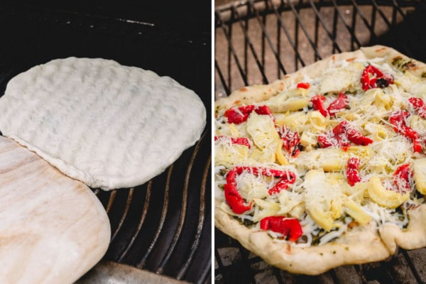 Side by side image of grilled pizza.