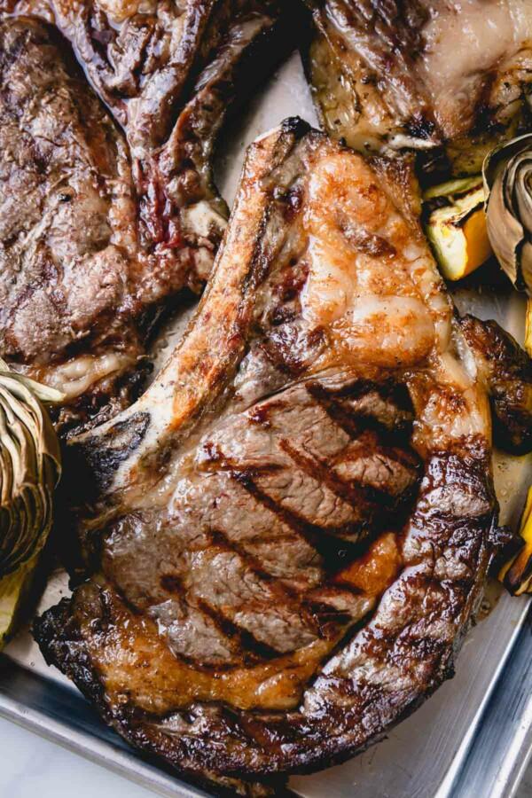 Upclose shot of a grilled ribeye steak.