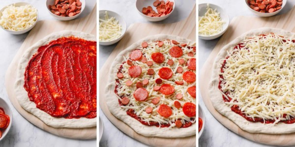 Step by step photos of topping pizza.