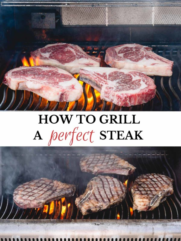 2-image collage of ribeye steaks on a grill.