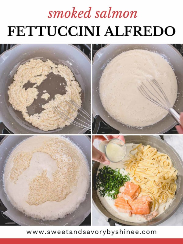 Step by step collage of making alfredo pasta.