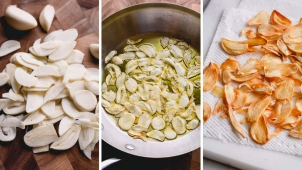 3 images of step by step process of making garlic chips: sliced garlic, garlic fired in a skillet and golden garlic chips on a paper towel.