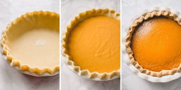 3 step by step photos of empty pie crust, unbaked pumpkin pie and baked pumpkin pie.