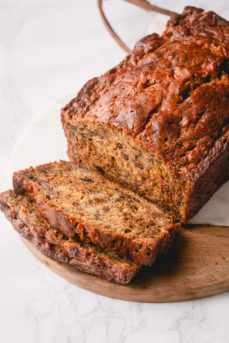 This is the simplest and moistest banana bread - easy to make and yields 2 breads! #bananabread